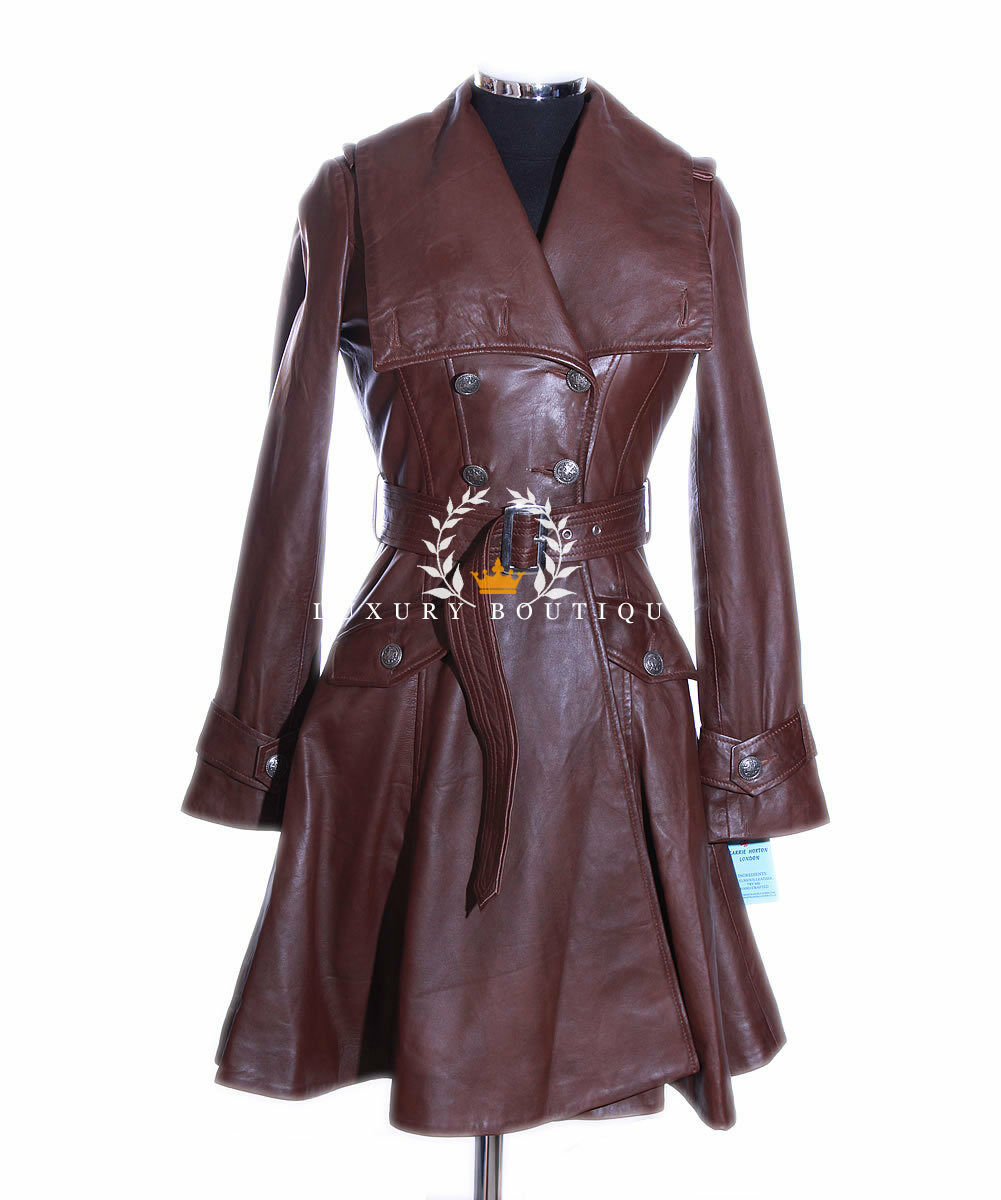 Elektra Brown Ladies Designer Military Real Soft Lambskin Leather Flare Coat