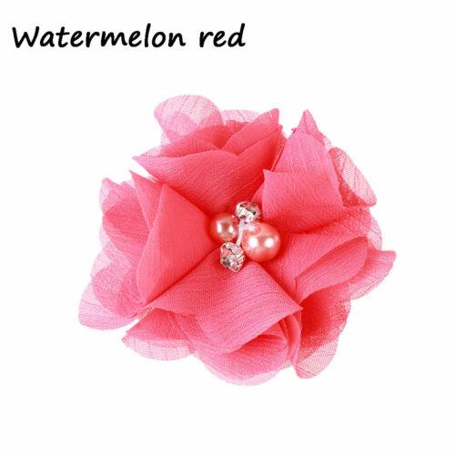 Headwear Bows   Chiffon Pearl  Rhinestone Baby Hairpin   Flower Hair Clip