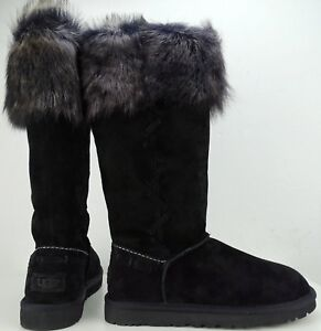 NEU UGG 39 Schwarz Rosana Boots Stiefel Leder Lammfell EUR