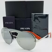 PRADA Cinema Round Brow Bar Sunglasses 65t Silver Shiny Mirror Unisex Pr65ts