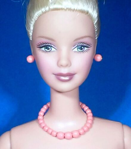 Barbie Dreamz CORAL PINK PEACH Graduated Pearl Necklace /& Earrings Doll Jewelry