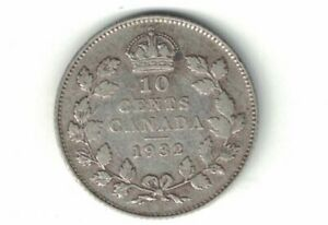 CANADA-1932-TEN-CENTS-DIME-KING-GEORGE-V-800-SILVER-COIN-CANADIAN