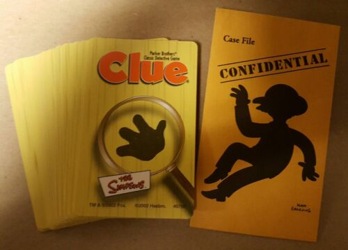 2002 THE SIMPSONS CLUE GAME COMPLETE CARDS FILE REPLACEMENT PARTS FREE SHIPPING!