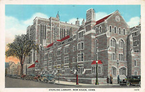 Sterling-Library-New-Haven-Connecticut-Early-Postcard-Unused