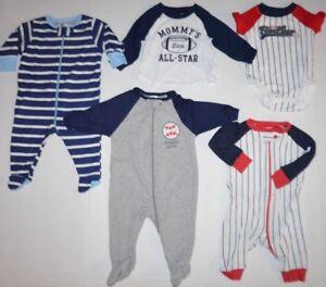 Lot-of-5-Baby-Boys-Carters-amp-Gerber-One-Piece-Pajamas-shirt-amp-Jumpers-Sport-0-3M