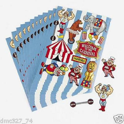 12 Party Favor CARNIVAL Big Top CIRCUS STICKER SHEETS