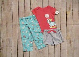 Carter-039-s-Toddler-Girls-3-Piece-Summer-Pajamas-Set-Size-2T-Top-Bottoms-Shorts-NEW