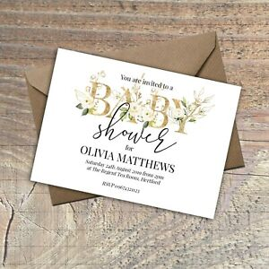 Personalised-Baby-Shower-Invitations-GOLD-Effect-and-floral-PACKS-OF-10