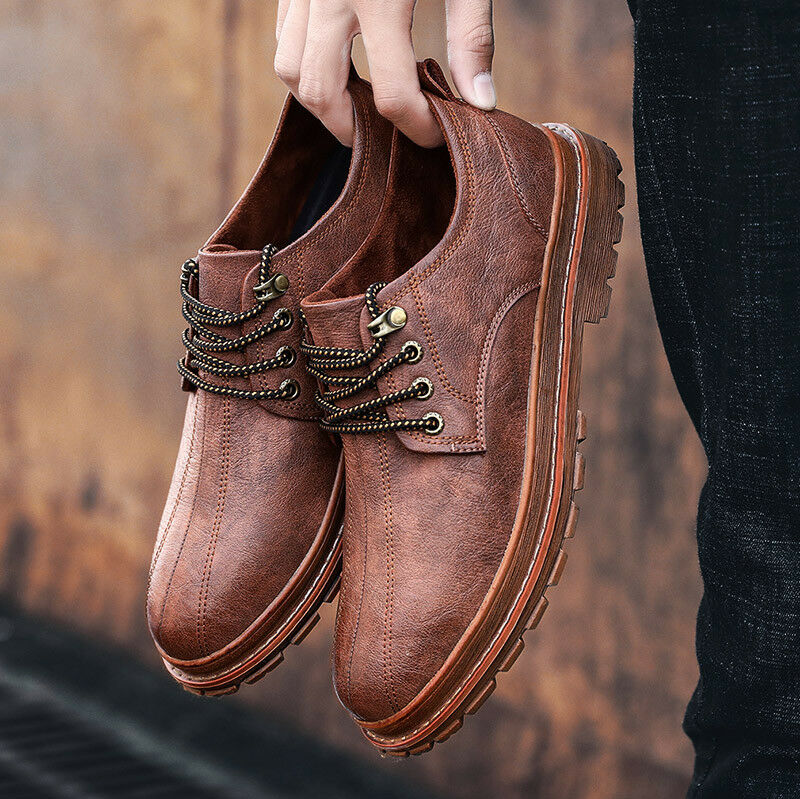 Men's Retro Leather Dress shoes Lace Up Comfort Brogues Autumn Casual Round Toe