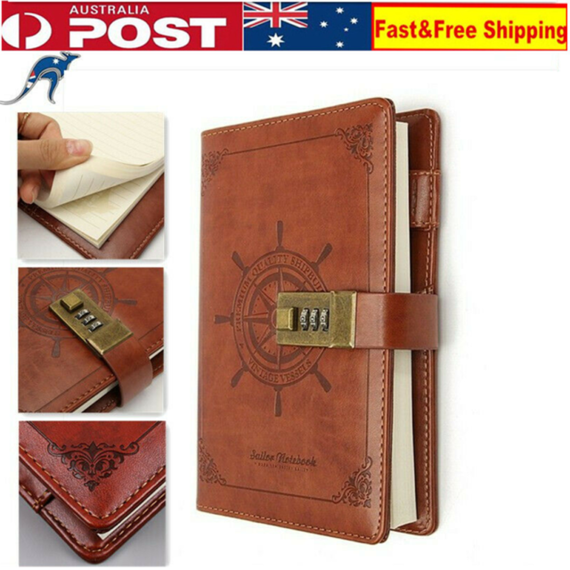 B6 New Retro Note Book Brown Leather Journal Wired Diary With Password Code Lock