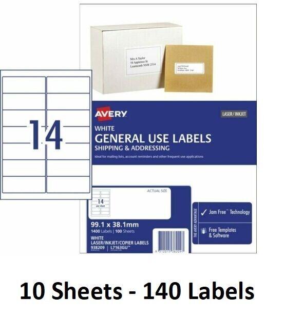 10 Sheets - Avery Label 938209 14 per Sheet 99.1mm x 38.1mm 14 UP CBST