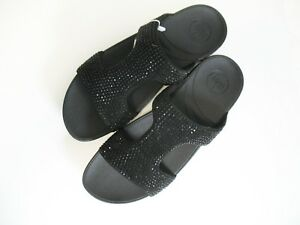 29543b71a2df4 Image is loading FitFlop-Womens-Rokkit-Slide-Sandal-Black-Diamond-Sz-