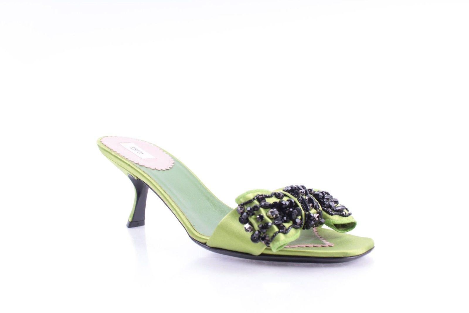 Womens - PRADA - Green Satin Beaded Bow Trim Kitten Heel Slides Sandals 6 36