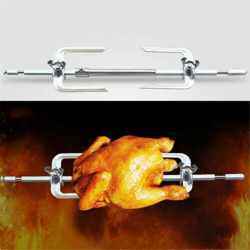 Electric BBQ Rotisserie Grill Roast Rod Spit Universal Kit Motor Meat Skewer