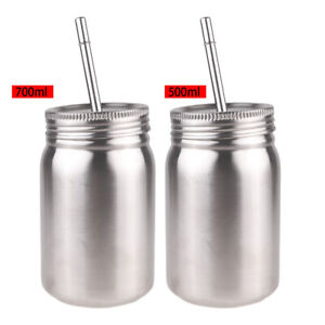Stainless Steel Screw Cap Mason Preserve Jars Kitchen Container With Lids Straws Ebay