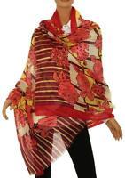 Etro Milano Ladies Luxury 100% Cashmere Floral Print Logo Scarf Wrap Shawl