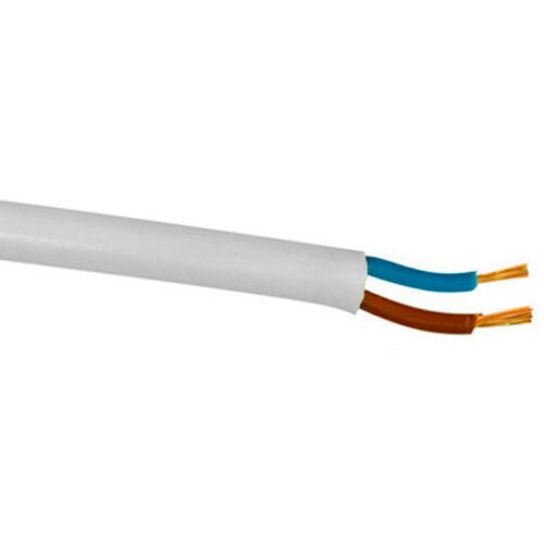 White Flex 0.5mm 2 Core 2182Y Round FlexibleWire Wiring Cable Power Lighting