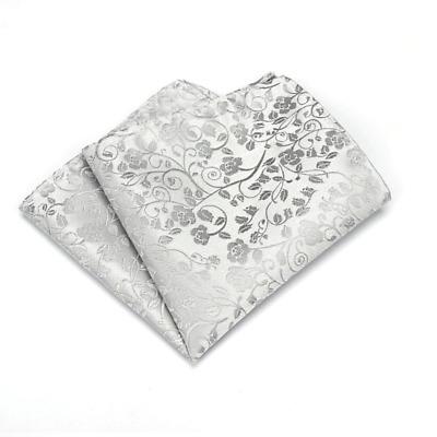 100/% Silk Grey Paisley Handkerchief Pocket Square Hankie Hanky Wedding