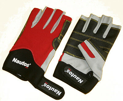 SAILING GLOVES  FIVE FINGERS CUT GLOVES- WHITE AMARA, GRIPPY PALM AND RED FORWAY