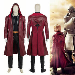 Movie Fullmetal Alchemist Edward Elric Cosplay Costume Leather Trench Red Coat