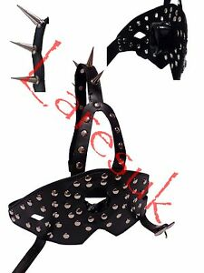Ring-gag-with-studded-mouth-shield-and-spiked-strap-G0-20-BLA-FREE-UK-DELIVERY