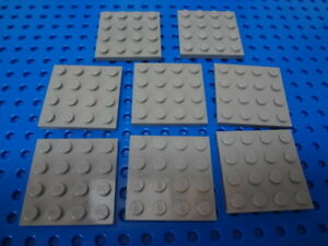 LEGO Traditional Dark Gray Plate 4x4, Lot/8