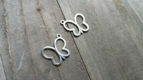 8 Butterfly Charms Antiqued Silver Insect Charms Butterfly Pendants Open Design