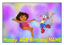 DORA EXPLORER POOL PARTY CAKE TOPPER A4  EDIBLE ICED ICING FROSTING PERSONALISED