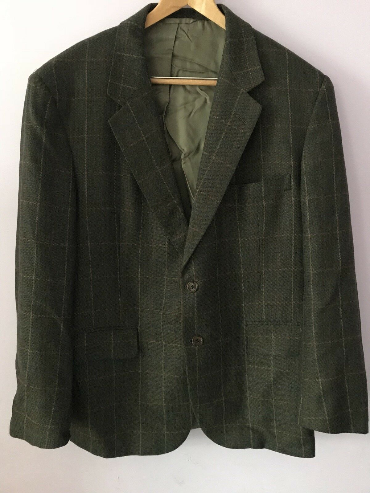 Men's Blazer, Windowpane Pattern, 2-button, No Vent, 42, Martin Greenfield NYC
