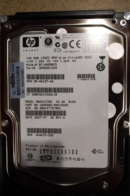 HP 365699-009 146.8GB 15K U320 SCSI BF14689BC5