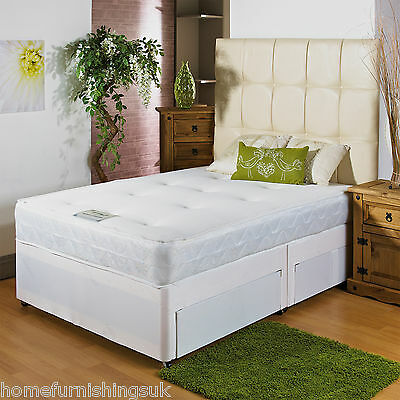 Brand New 2ft 6 Small Single Memory Soft White Divan Bed+2 Drawers+No Headboard