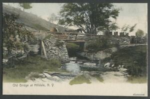 Hilldale-Hurleyville-Sull-Co-NY-c-1905-Hand-Colored-Postcard-THE-OLD-BRIDGE