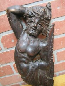 Antique-Wooden-Carved-Man-Wolfman-Salvage-Part-Architectural-Hardware-Element