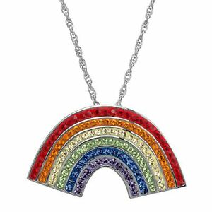 Crystaluxe Rainbow Pendant with Swarovski Crystals, Rhodium Over Sterling Silver