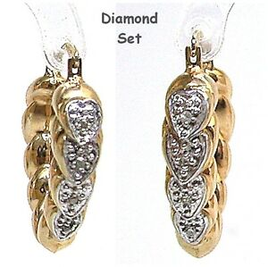 9ct Gold Heart Shape Diamond Earrings 9ct Yellow Gold Fabulous New Old Stock - Blackpool, United Kingdom - 9ct Gold Heart Shape Diamond Earrings 9ct Yellow Gold Fabulous New Old Stock - Blackpool, United Kingdom