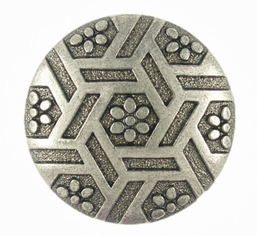 WITH SHANK 23 MM ONE GUNMETAL BUTTON WITH HEX AND FLOWER MOTIF