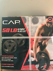 """CAP 50 Lb Olympic Weight Plate Set 25 Lb Plates Cast Iron 2 Inch """" 2"""