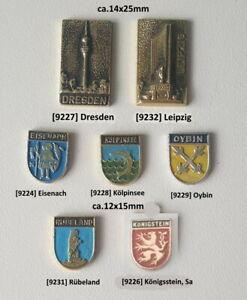 ehem. DDR Städte Gebäude Stadtwappen Abzeichen (ohne Nadel) AUSSUCHEN