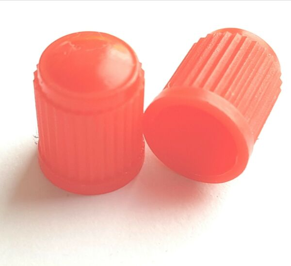 100 X Red Tyre Valve Plastic Caps. Bulk Buy. Job Lot. Elegante Verschijning