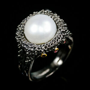 Handmade-Natural-Pearl-925-Sterling-Silver-Ring-Size-8-R88318
