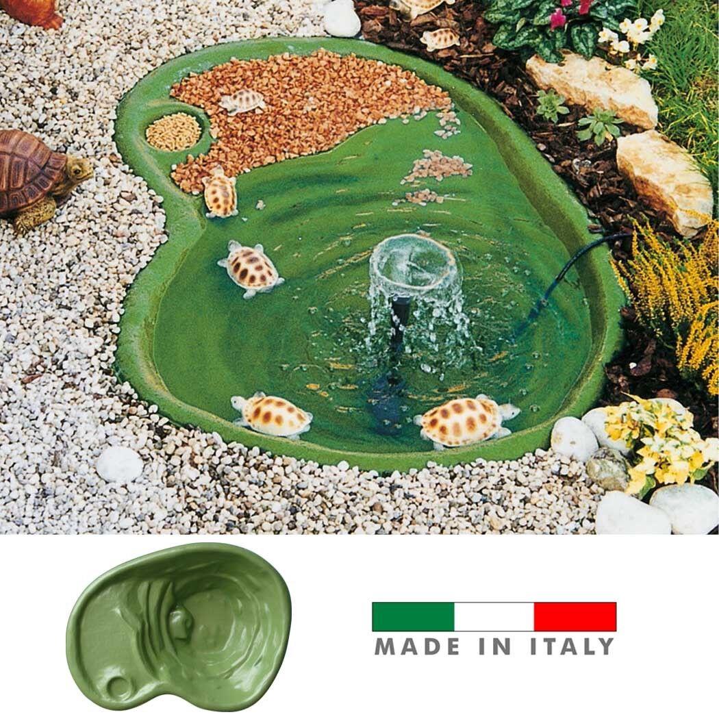 LAGHETTO TARTARUGHE PESCI GIARDINO TERMOFORMATO RESINA coloreE verde 108x77x H28