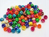 50 x 10mm Mix Round Wooden Flower Dot Beads Jewellery Craft Bead  L137