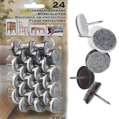 24 Felt Laminate Floor Protectors Brown White Furniture Feet Leg Pads Wood Nail