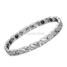 """5.5mm Stainless Steel Silver X Link Chain Magnetic Bracelet 7.8"""" Womens Ladies"""