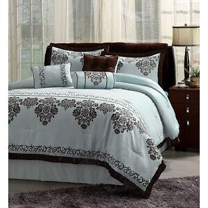 Soft Blue Chocolate Brown Trim Elegant Bedding 7 Piece