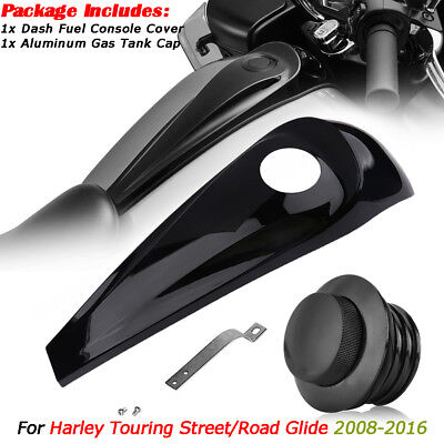 Vivid Black Smooth Dash Fuel Console/&Gas Tank Cap For Harley Touring FLHT FLHX