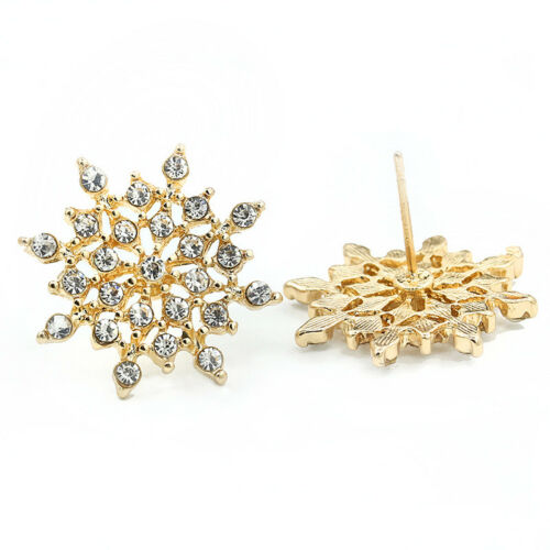 Pretty gold and clear snowflake stud earrings with crystal