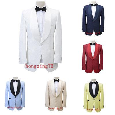 Men/'s Burgundy Jacquard Paisley Slim Fit Suit Blazer Tuxedos Dinner Wedding Suit