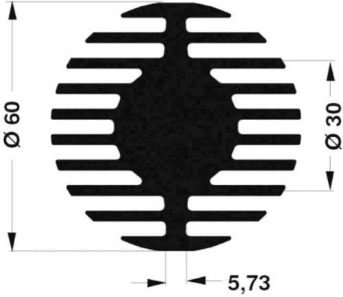 Ø x H Fischer Elektronik SK 578 25 SA LED-Kühlkörper 2.1 K//W 60mm x 25mm