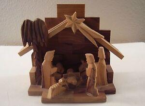 Hand Made Carved Olive Wood Jerusalem Nativity Wise Men Baby Jesus